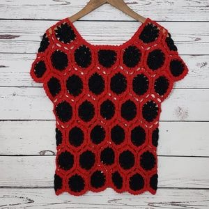 Vintage Hand Knit Crochet Granny Squares Sweater